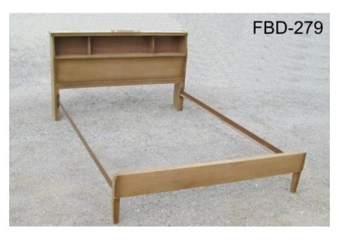 WOOD BED, DOUBLE, BOOKCASE HEAD BOARD